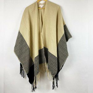 Free People Tan/Black Fringe Poncho
